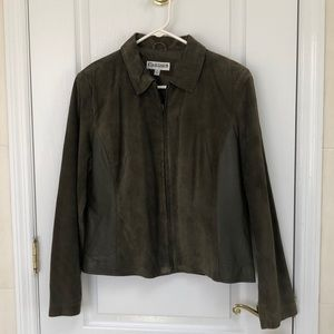 Suede and Leather Olive Green jacket. NWT